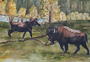 Buffalo River Paintings - Passing in Yellowstone by Charme Curtin