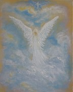 Guardian Angel Print Prints - Peace from an Angel  Print by Leslie Allen