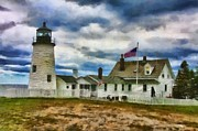 Maine Lighthouses Digital Art Prints - Pemaquid Point Lighthouse in Maine Print by Mary Warner