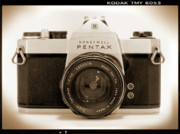 White Digital Art Posters - Pentax Spotmatic IIa Camera Poster by Mike McGlothlen