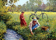 Bicycle Painting Originals - Picking Yellow Flowers by Roelof Rossouw