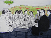 Mountain Scene Drawings Prints - Picnic in the Mountains Print by Marwan George Khoury