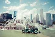 Treatment Metal Prints - Picture of Buckingham Fountain with Chicago Skyline Metal Print by Paul Velgos