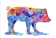 Pig Prints Paintings - Pig named Penelope in Many Colors by Jo Lynch