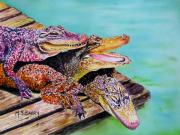 Reptiles Painting Framed Prints - Pile Up Framed Print by Maria Barry