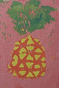 Hawai Painting Prints - PIneapple Linoleum Print 1988 Print by Naomi Susan Schwartz Jacobs