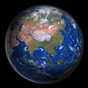 Cartography Digital Art - Planet Earth From Space, Asia Prominent by Saul Gravy