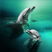 Dolphins Digital Art Metal Prints - Playful Dolphins Metal Print by Julie L Hoddinott