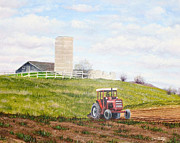 Farmland Painting Originals - Plowing In by Don  Goetze