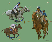 Sports Montage Posters - Polo Montage Poster by Larry Linton