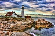 Maine Lighthouses Digital Art Prints - Portland Head Lighthouse in Portland Maine Print by Mary Warner
