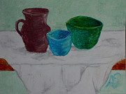 Alex Shear Prints - Pots on Draped Tablecloth Print by Alex  Shear