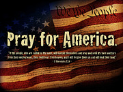 Red White And Blue Mixed Media Posters - Pray for America Poster by Shevon Johnson