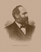 President Mixed Media Prints - President James Garfield Print by War Is Hell Store