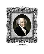 Patriot Mixed Media Metal Prints - President John Adams Portrait  Metal Print by War Is Hell Store