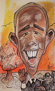 Washington Dc Drawings - President Obama by AJ Williamson