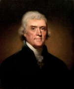 4th July Painting Framed Prints - President Thomas Jefferson  Framed Print by War Is Hell Store