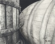 Wine Drawings - Press to Barrel by Mark Treick