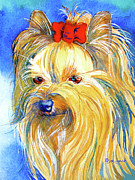 Yorkshire Terrier Watercolor Posters - Puddin Yorkie Yorkshire Terrier Dog Poster by Jo Lynch