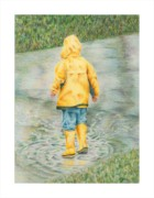 Yellow Drawings Originals - Puddle Fun by Mary Jo Jung