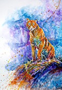 Mountain Lion Paintings - Puma. Listening to the sounds of the mountains.  by Zaira Dzhaubaeva