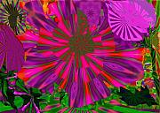 Green Mixed Media - Purple Flower On Green by Navo Art