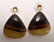 Original Design Jewelry - Pyrite Calcite Earrings by Beverly Fox