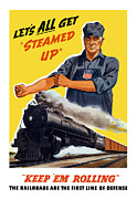 United States Mixed Media Metal Prints - Railroads Are The First Line Of Defense Metal Print by War Is Hell Store