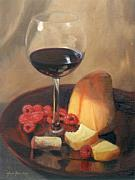 Cork Originals - Raspberries Wine and Cheese by Anna Bain