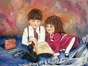 Boy And Girl Prints - Reading Blanket 1 Print by Sharon Wilkens