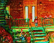 Steps Painting Originals - Reading On The Steps by Carole Spandau