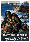 Wwii Propaganda Metal Prints - Ready For Anything Thanks To You Metal Print by War Is Hell Store