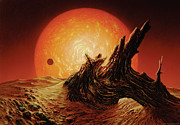 Science Fiction Painting Prints - Red Giant Sun Print by Don Dixon