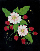 Barbara Griffin - Red Raspberries and Dogwood Flowers
