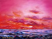 Sunsets Original Paintings - Red Sunset by Gina De Gorna