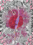 Dancer Art Pastels Prints - Red Tutu Print by Cynthia Sorensen