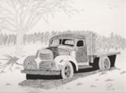 Rusty Drawings - Retired Farm Truck by Pat Price