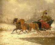 Charles Ferdinand De La Roche - Returning Home in Winter