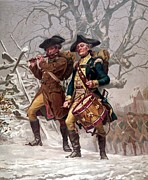 American Revolution Painting Prints - Revolutionary War Soldiers Marching Print by War Is Hell Store