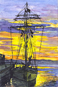 Silhouette Prints Mixed Media Prints - Rigging in the Sunset Print by Carol Wisniewski