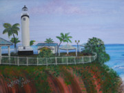 El Mar Art - Rincons Lighthouse by Gloria E Barreto-Rodriguez