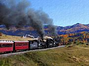 Steam Locomotives Digital Art Posters - Rio Grande 488 and 489 Poster by Kurt Van Wagner