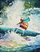 White Water Kayaking Posters - River Rocket Poster by Hanne Lore Koehler