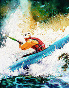 White Water Kayaking Posters - River Rush Poster by Hanne Lore Koehler
