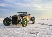 Vintage Motorcycle Prints - Roadster on the Salt Flats 2012 Print by Holly Martin