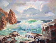 Sun Rays Painting Prints - Roaring Waves Print by Bill Joseph  Markowski