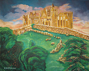 John Keaton Paintings - Rock of Cashel-Ireland by John Keaton
