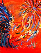 Wildlife Mixed Media Originals - Rockin Red Rooster by Kristine Anderson
