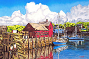 Sports Art Pastels Acrylic Prints - Rockport Cove Acrylic Print by David Linton