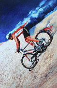 Mountain Bike Paintings - Rocky Mountain High by Hanne Lore Koehler